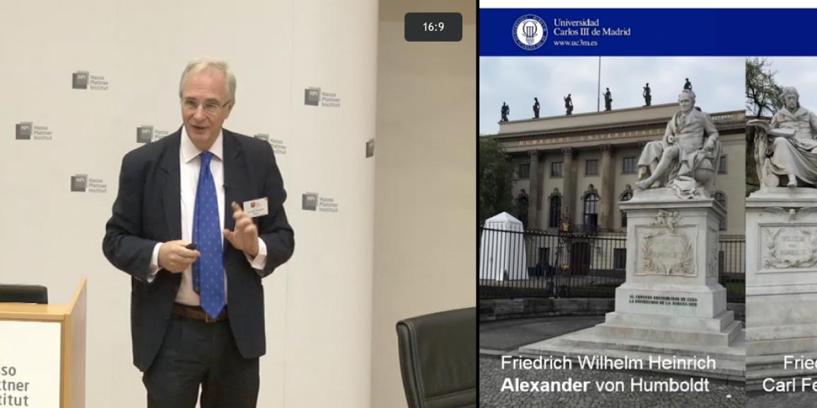 """Presentation of Prof. C. Delgado Kloos """"Der MOOC: Ein guter Wegweiser"""" in openHPI-Forum"""